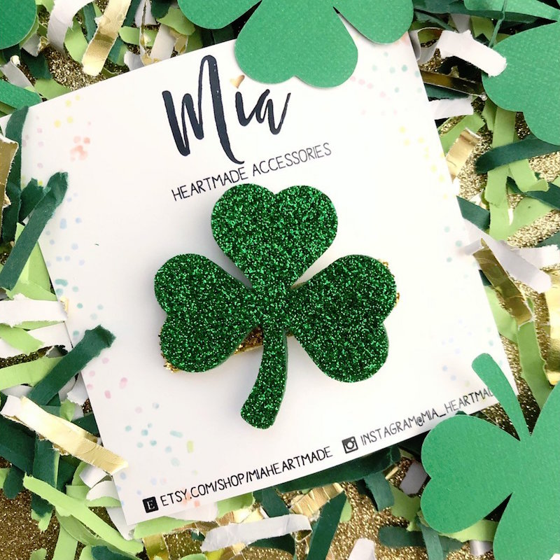 Glittery Green Shamrock Hair Clip for St. Patrick's Day - from Mia Heartmade Accesories on Etsy. Click to see more lucky hair accessories for Saint Patricks Day + Photo Styling Tips for Etsy Artists