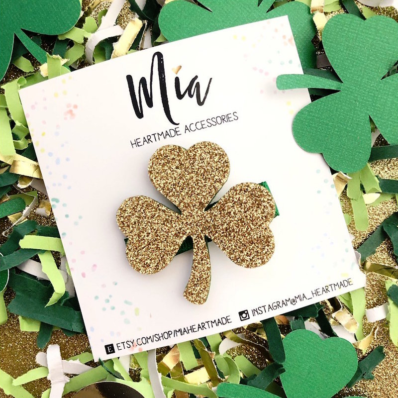 A Glittery Gold Shamrock Hair Clip for St. Patrick's Day - from Mia Heartmade Accesories on Etsy. Click to see more lucky hair accessories for Saint Patricks Day + Photo Styling Tips for Etsy Artists