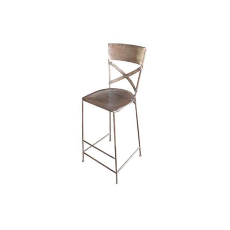 Home Trends & Design Industrial Loft Nickel Bar Chair
