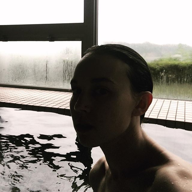 Considering mortality in the empty onsen . . . #japan #日本 #sado #selfie #onsen #温泉