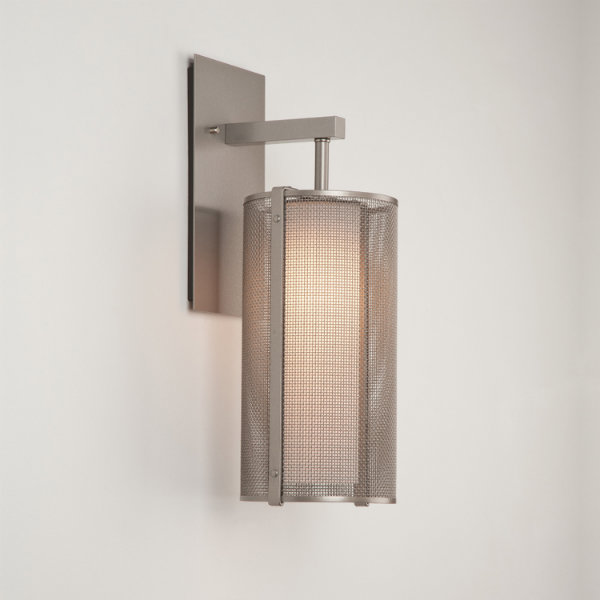 Downtown Mesh indoor sconce in metallic beige silver finish, with frosted glass diffuser.