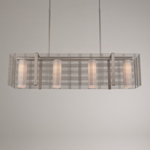 Downtown Mesh linear suspension, with frosted glass diffusers, in metallic beige silver finish.