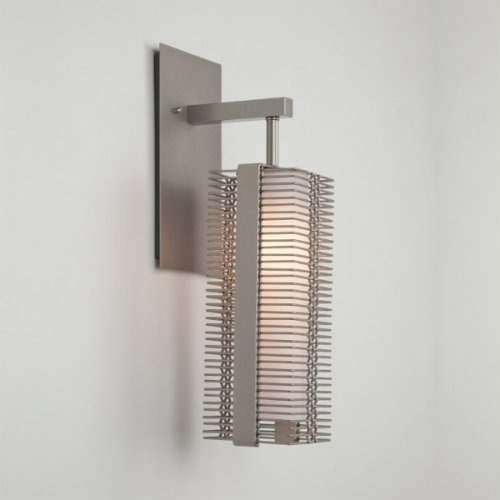 Downtown Mesh indoor sconce, with frosted glass diffuser, in metallic beige silver finish.
