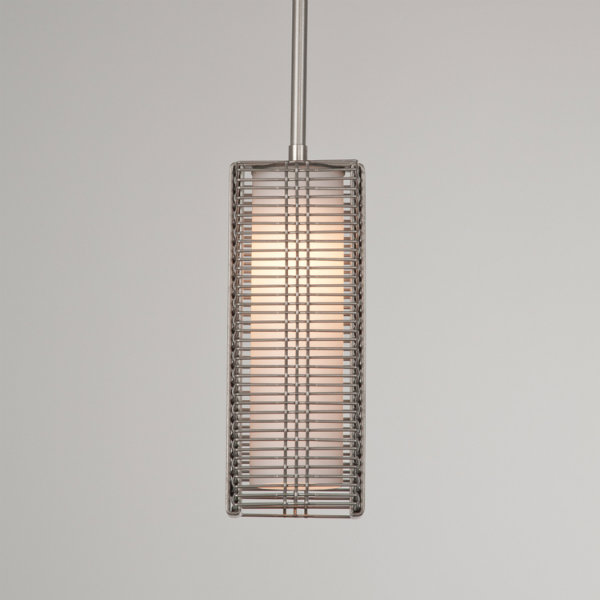 Downtown Mesh pendant in metallic beige silver finish, with frosted glass cylinder.