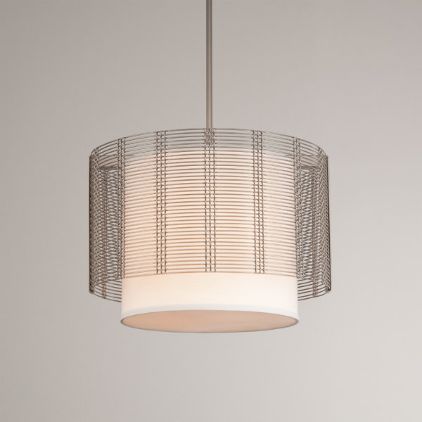 Downtown Mesh drum pendant, in flat bronze finish, with linen shade.