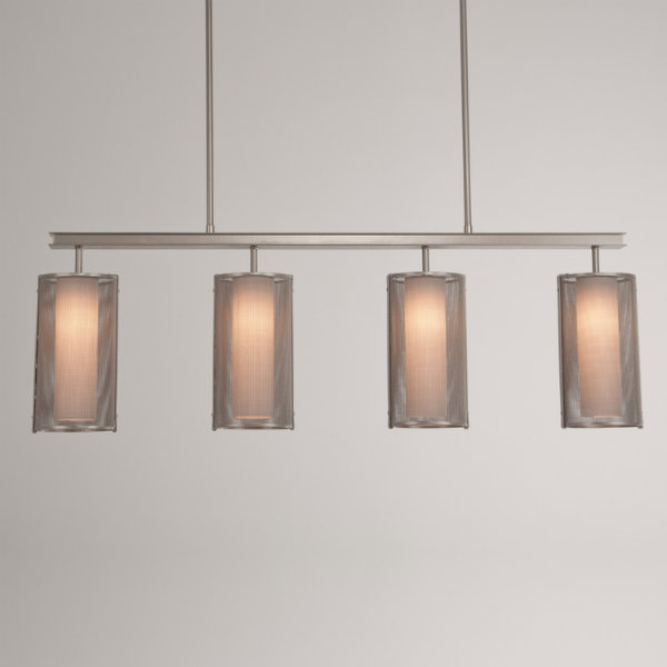 Uptown Mesh linear suspension in metallic beige silver finish, with frosted glass cylinders.