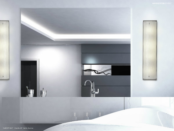 Two Textured Glass vanity lights in Granite subtly draw the eye with intriguing textures that add movement and dynamic interest.