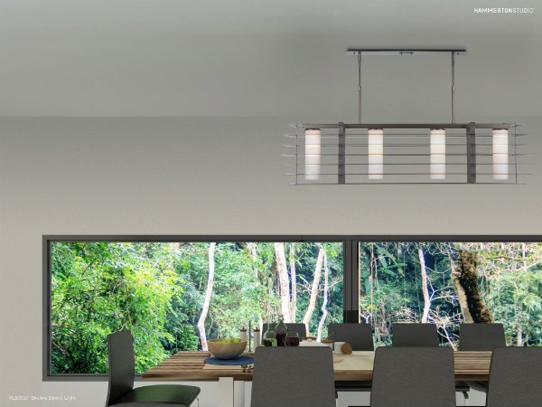 Skyline dining light with a Metallic Beige Silver finish.