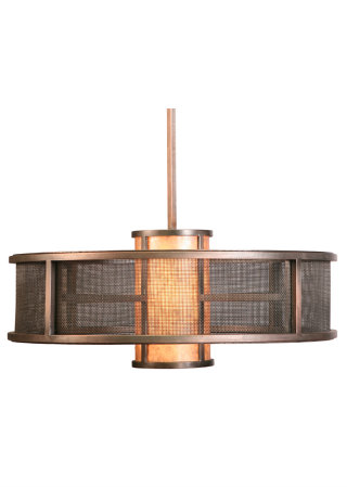 A fine mesh lens is an unexpected touch on this contemporary double drum fixture with a dark copper finish and dark mica center.