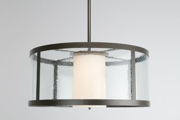 In this double drum design by Hammerton, a wide glass outer drum adds scale without the extra weight.