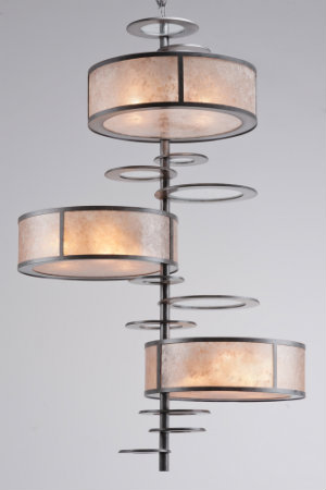 Very similar to the original, this crankshaft fixture is much larger and features warm-colored lenses along a dark metal base.