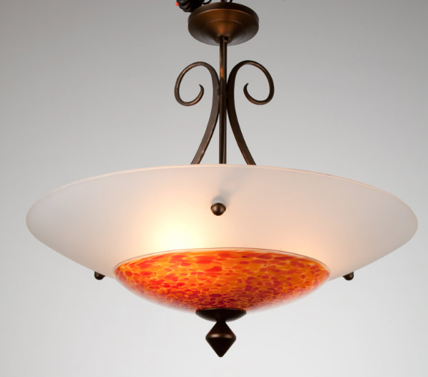 Traditional and modern style elements come together in this colorful dome chandelier.