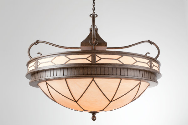 Both the banding and diffuser of this dome chandelier feature a geometric motif for an Art Deco look.