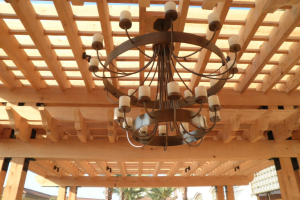 A large fixture from our Chateau Collection provides the right amount of lighting for an expansive outdoor area.