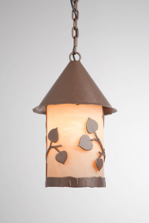 A charming lantern pendant with a leaf motif offers a dash of woodland whimsy.