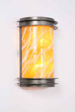Even modern interiors can be energized with organic designs like this sleek sconce made from honey calcite stone. Its wavelike pattern gives a subtle nod to the natural world.