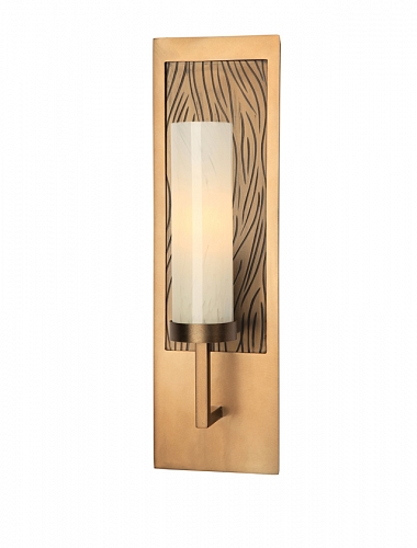 Contemporary sconce ID2155. Several of Hammerton's contemporary fixtures include standard backplate motifs like this stylized organic texture.