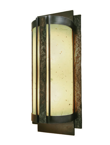 Contemporary sconce CS2227 with a chive washi paper diffuser and hammered texture.