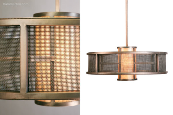 This contemporary chandelier layers a dark mica diffuser with fine mesh and a premium dark copper finish.