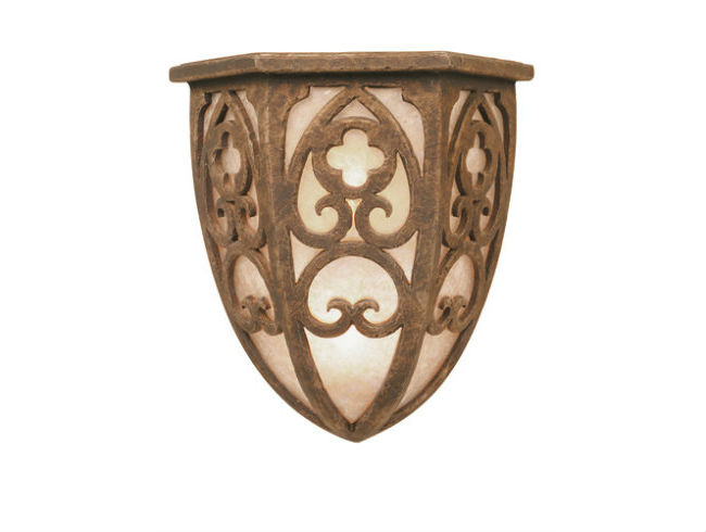 A light mica lens material extends the old-world feel of this CS9147 cover sconce from the Hammerton Chateau collection.