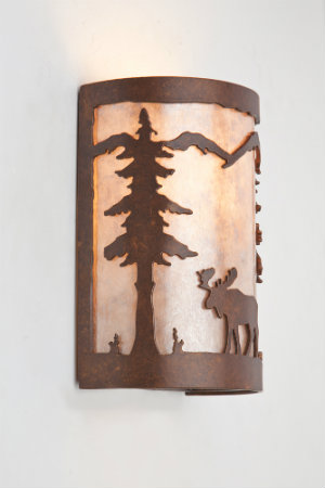Like a postcard-worthy snapshot, this moose and mountain silhouette adds an element of warmth to this simple sconce.