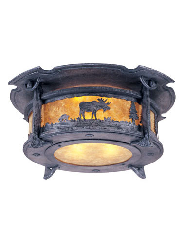 From afar, this fixture may appear as a simple, industrial-style ceiling light, but on a closer look, you're treated to an interesting engraving of trees and wildlife.
