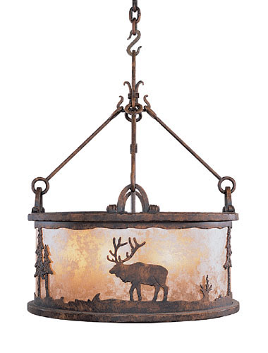 An evergreen silhouette with an elk motif is paired with old world-style hooks and metal fasteners to achieve an unusual light design.