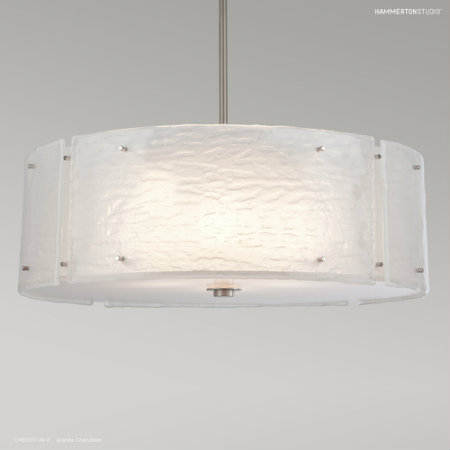 From the Hammerton Studio Textured Glass collection, this drum chandelier's rugged texture captures the depth and variation of natural granite, making it a wonderful piece for a contemporary mountain home or modern rustic design.
