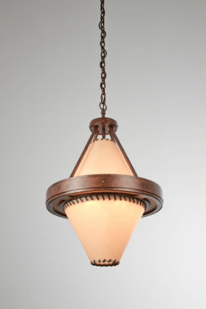 Designed with lashed rawhide and antique copper finished steel, this diamond-shaped pendant mixes rugged materials with clean lines for a sophisticated, rustic chic look.