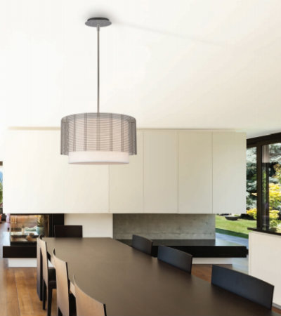 This Downtown Mesh drum chandelier brings an urban touch to a chic, modern kitchen. The woven steel material gives the fixture a bold aesthetic, while remaining light and airy.