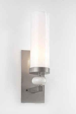 This custom sconce with decorative blown glass accent features our standard metallic finish in royal silver.