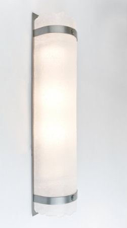 The metal bands and backing of this Textured Glass cover sconce are finished with our standard metallic finish in royal silver.