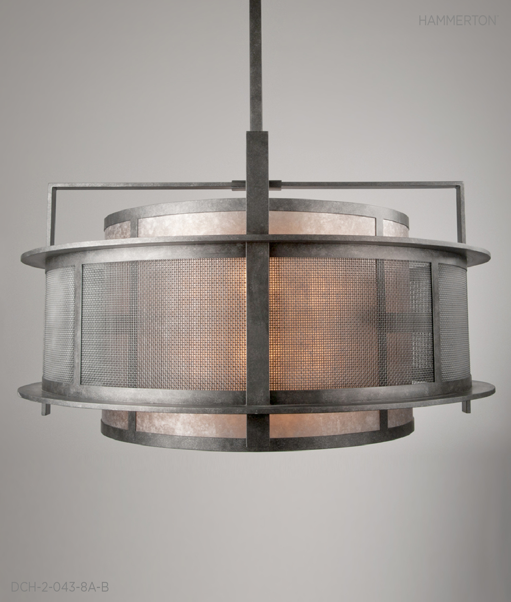 "Industrial-inspired double drum, 60"" OAH x 54""Dia, in Medium Mesh and Light Mica, with Antique Iron finish.     Fixture: DCH-2-043-8A-B"