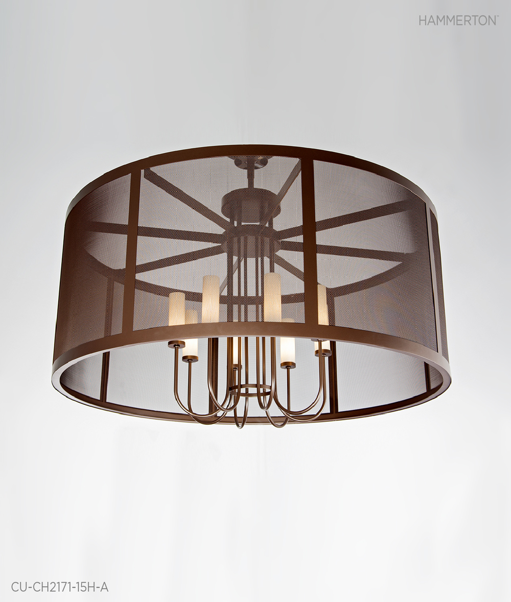 Fine Mesh is the focal point on this contemporary 6 ft dia chandelier featuring eight elegant tall Light blown glass shades. Finish: Tempered Bronze. Designed for Ocean Reef Club, Florida. Fixture: CU-CH2171-15H-A
