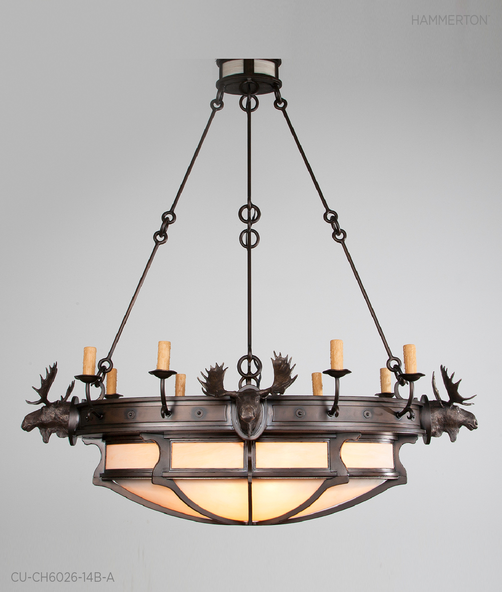 With features quintessential to our Log and Timber collection, the Bronze Moose head motifs encompassing this round 5 ft dia chandelier provide a rustic yet endearing quality. Onyx Acrylic custom dome with Dark Bronze finish. Fixture: CU-CH6026-14B-A