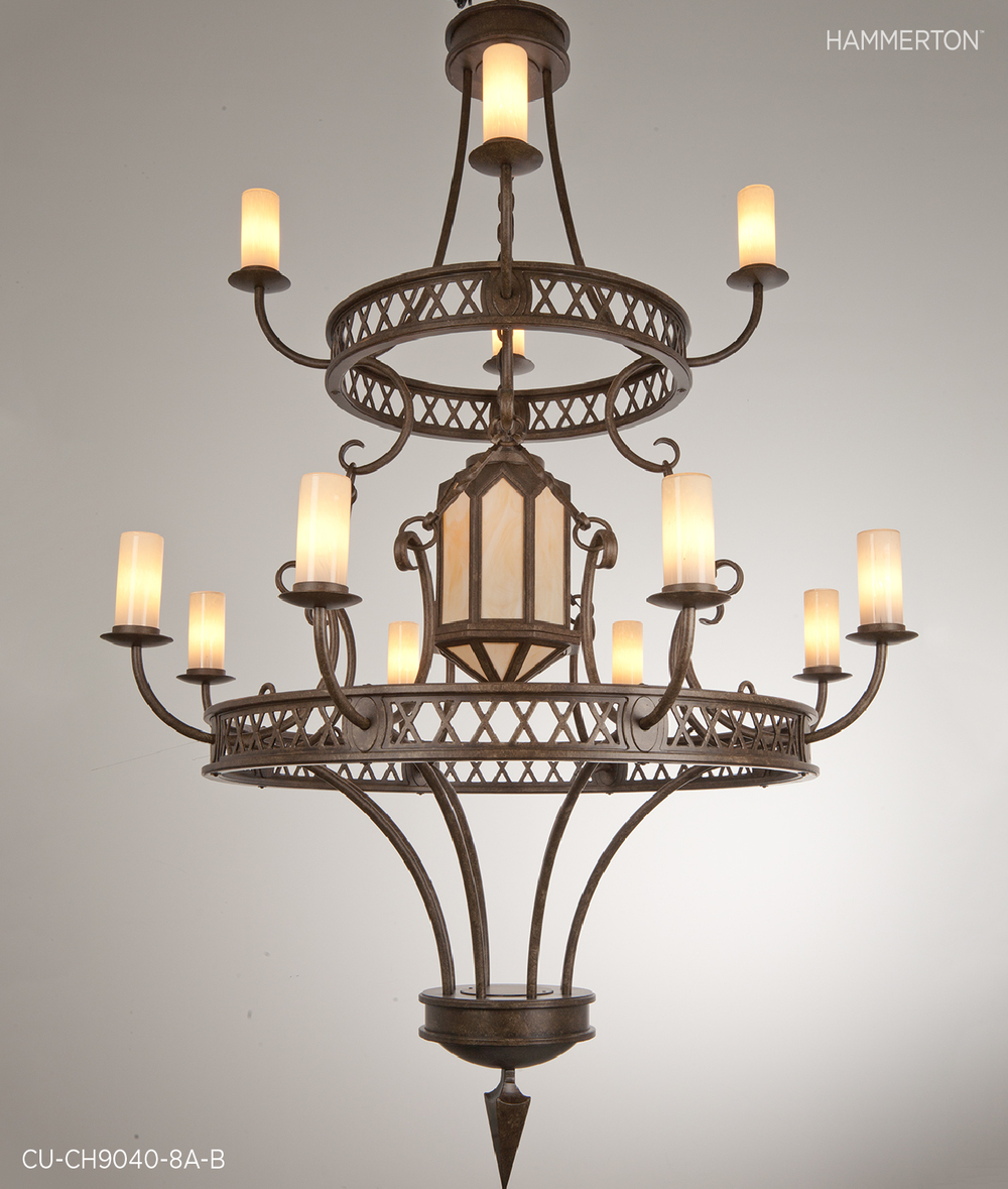 This 8 ft tall Chateau chandelier with light glass lens and 12 Light blown glass shades makes a pivotal statement. Finish: Antique Bronze.  Fixture: CU-CH9040-8A-B