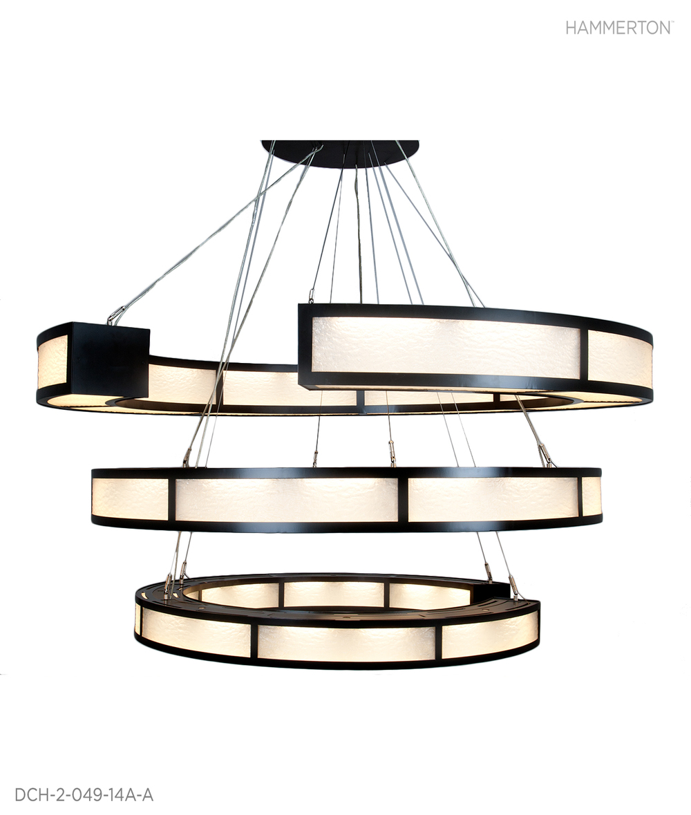 A spectacular 6.5 ft tall asymmetrical triple ring contemporary chandelier with Granite custom lens and Statuary Bronze Metallic finish. Fixture: DCH-2-049-14A-A