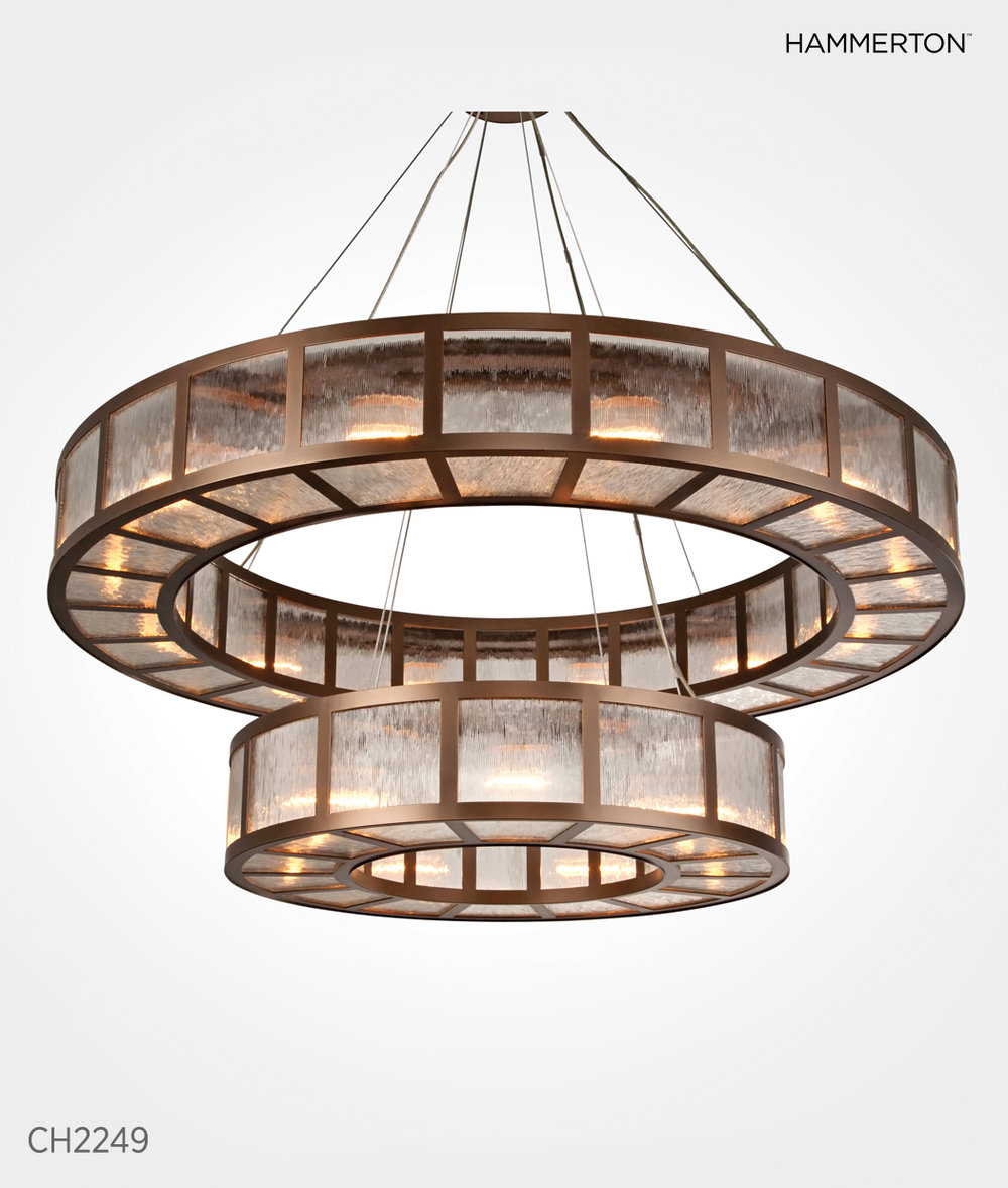 """From the Hammerton Contemporary Collection: CH2249, 60""""D x 60""""H, shown with custom ribbed glass and Flat Bronze finish"""