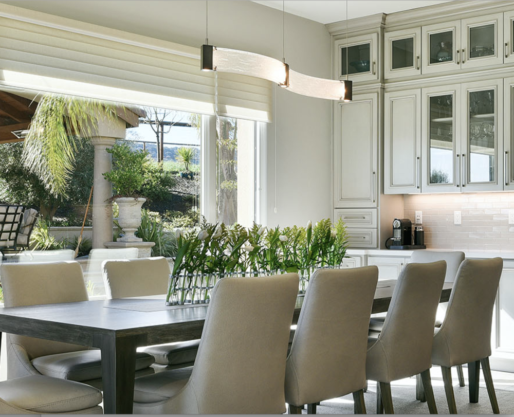 A Closer Look At The Dining Area. The Parallel Linear Suspension Features  Clear Granite Kiln