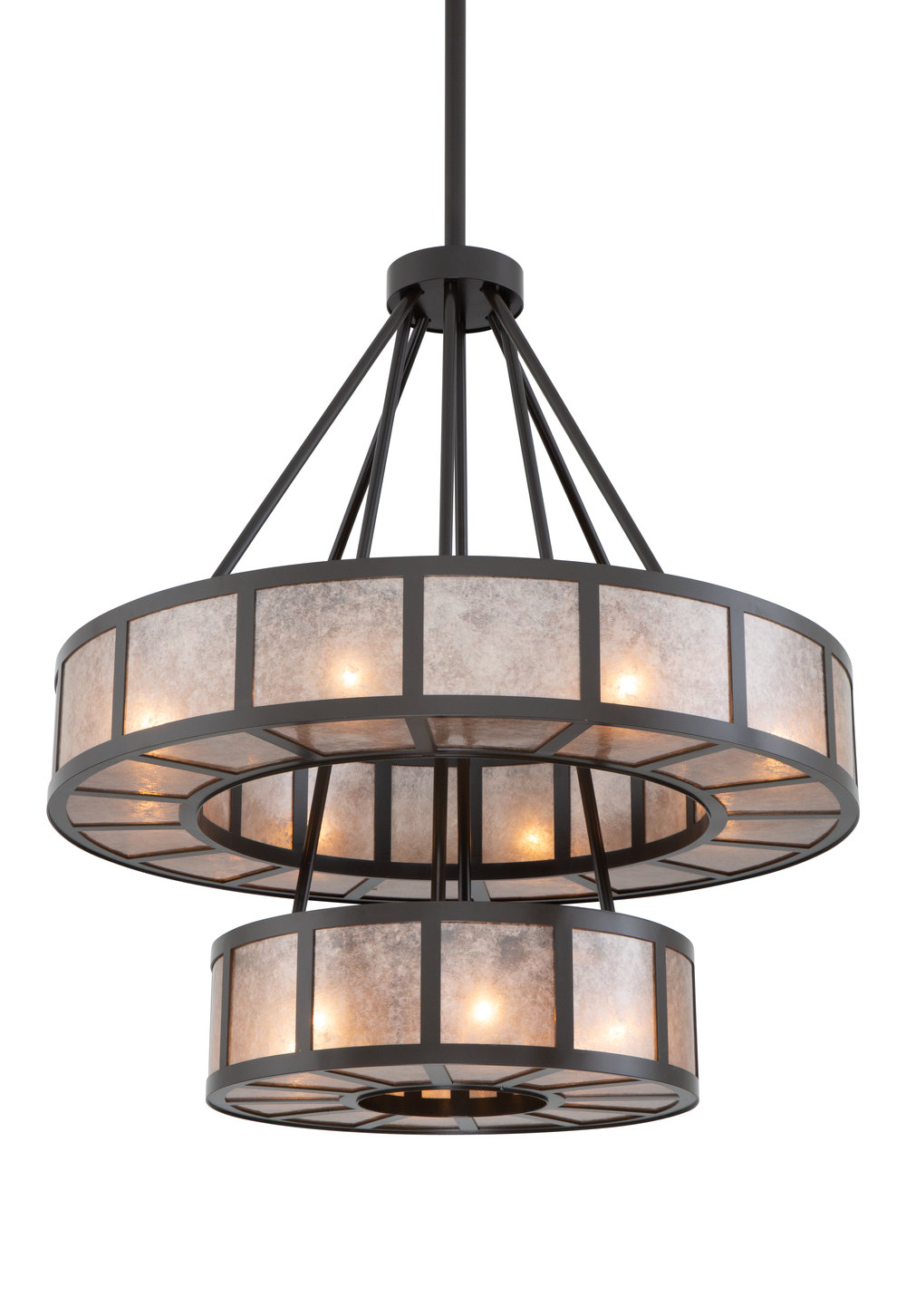 A top selling contemporary chandelier, modified for a porte cochere installation. Custom design #CU-CH2249-17G-A