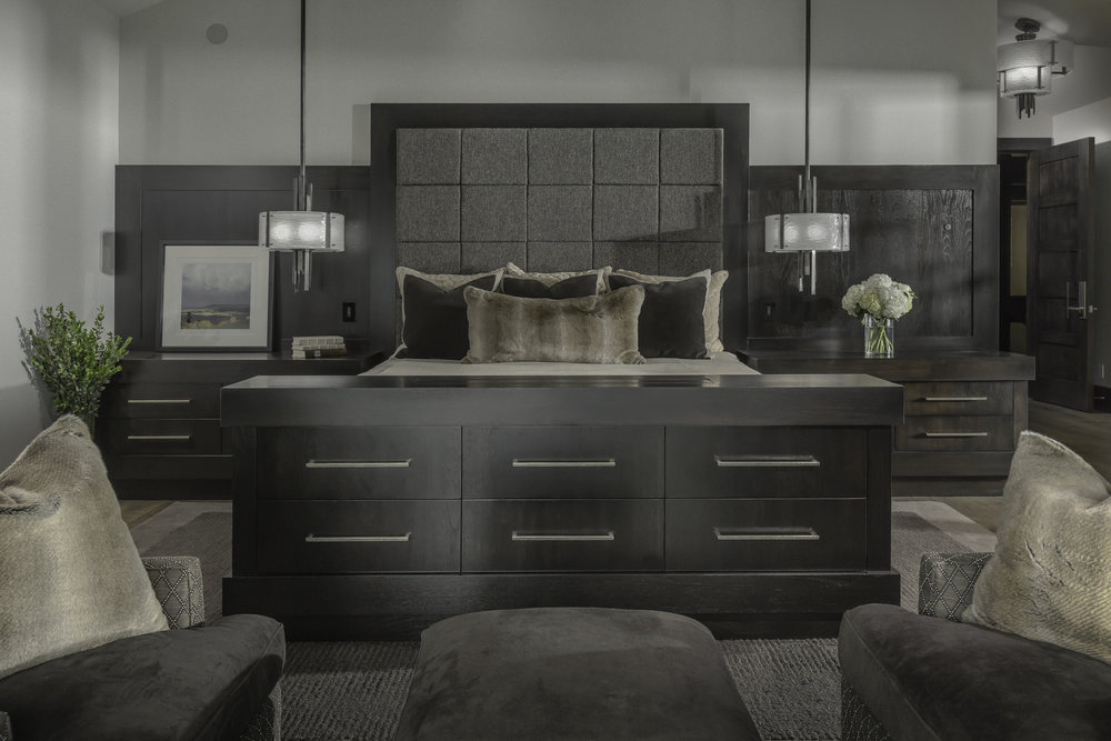 Custom Hammerton pendants in a bedroom designed by Ontario Design l Park City UT
