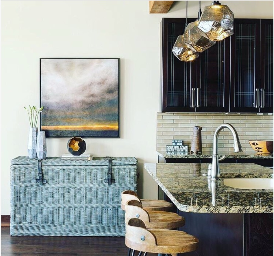 Smoke Gem pendants in a kitchen designed by Pinnable Design Studio | Frisco, CO