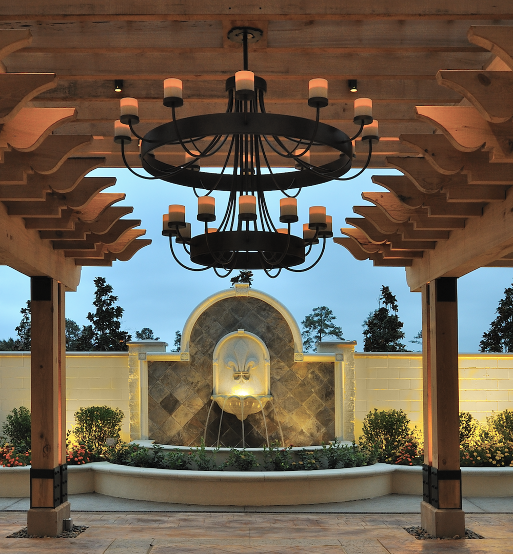 A custom version of an original Hammerton design, enlarged to suit the grand scale of this outdoor space at the L'Auberge Du Lac Resort in St. Charles, LA and engineered to be weatherproof, lightweight and maintenance-free. Design by Montgomery Roth Architecture & Interior Design.