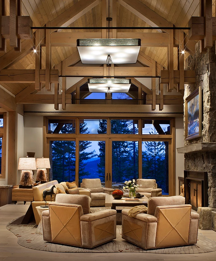 Oversized Hammerton Studio Ironwood square chandelier in a contemporary mountain great room by  Fedderly & Associates  | Palm Desert, CA