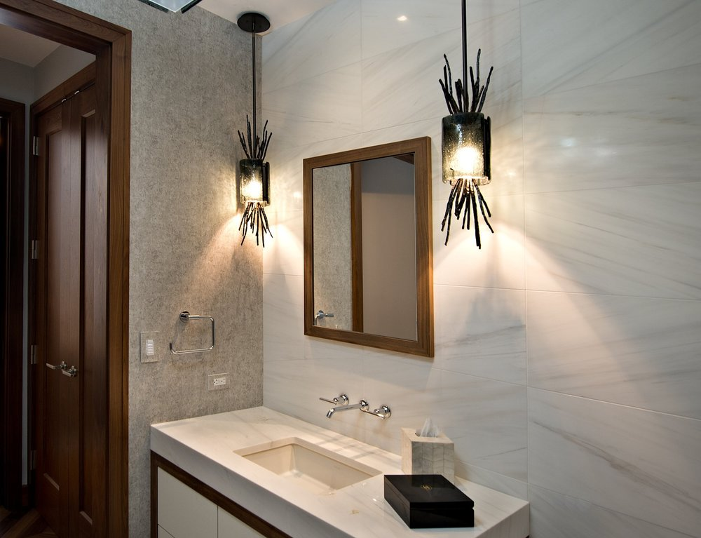 Hammerton Studio Ironwood pendants in a powder room designed by  Jamie Schachtel Design Group  | Baltimore, MD