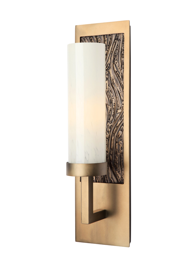 ID2155 sconce with heavy sage organic motif.