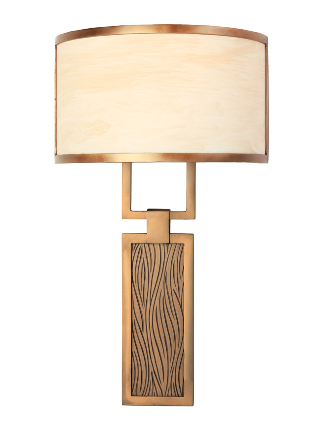 CS2166 cover sconce with light sage organic motif.
