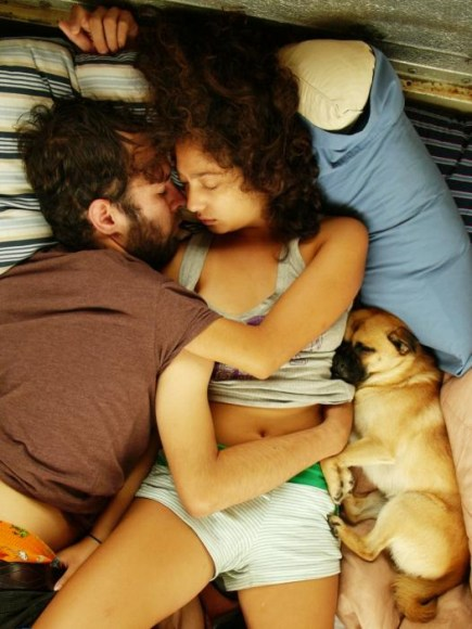 Couple dating with their dog