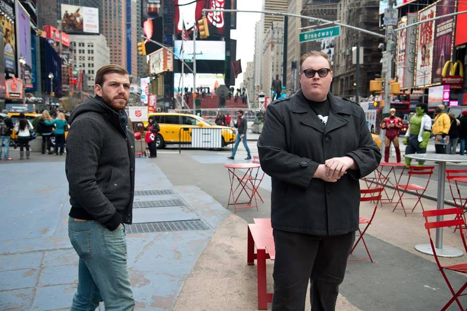 Co-producers McLaughlin and Birdsall in Times Square.