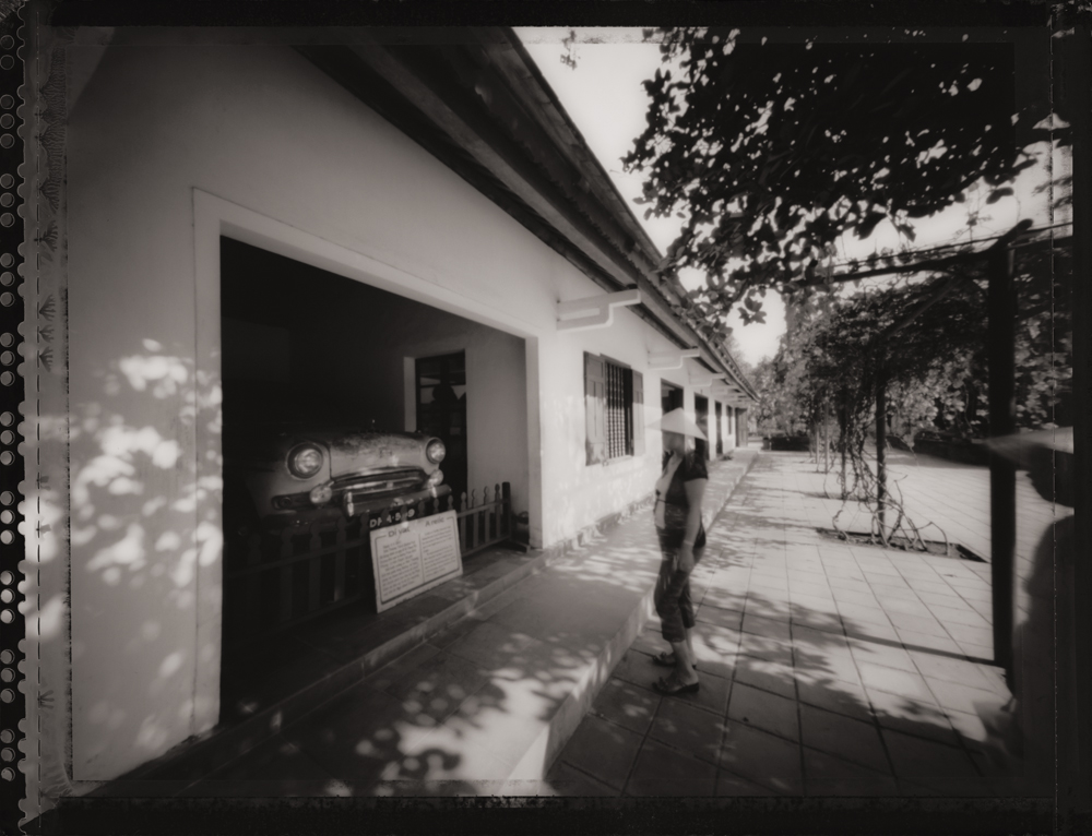 Pilgrams at Suicide Car, Monument to   Thich Quang Duc, Hue . Pinhole Image © 2007.